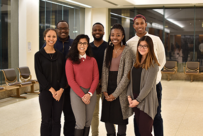 Members of the Black Medical Students' Association pose for a group photo in the Medical Sciences Building