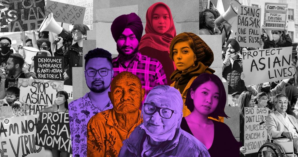 Multicolor image with people in purple, orange, red and pink who represent Asian communities in Canada.