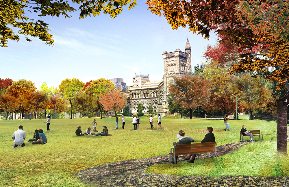 Rendering of community green space in King's College Circle