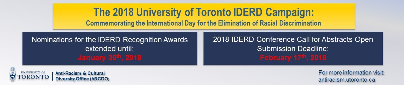 2018 IDERD Campaign banner detailing nominations deadlines