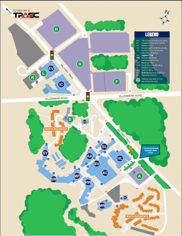 map of University of Toronto's Scarborough Campus